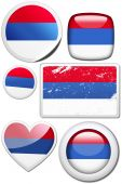 Serbia - Set of stickers and buttons poster