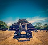 stock photo of vihara  - Vintage retro hipster style travel image of ancient Buddhist dagoba  - JPG