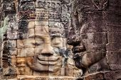 Ancient stone faces of Bayon temple, Angkor, Cambodia