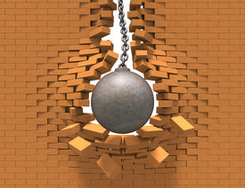 image of ball chain  - Rusty wrecking ball destroying the red brick wall - JPG