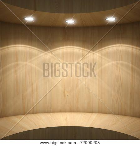 Blank wooden showcase