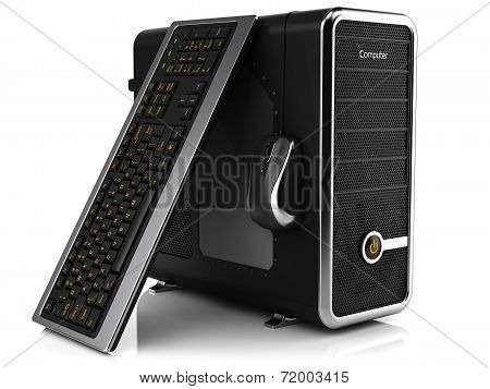 Group Of Computing Tower Box, Keyboard And Mouse