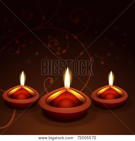 Vector beautiful diwali diya background