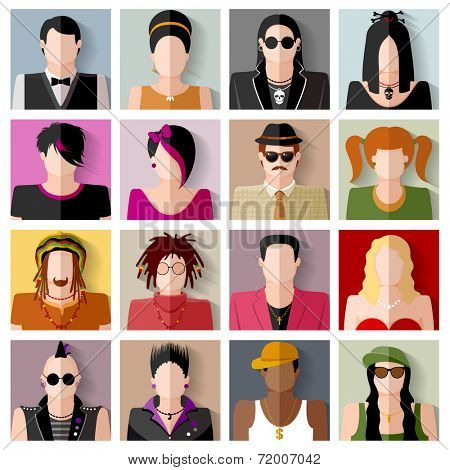 People icon set. Different subcultures in trendy flat style.