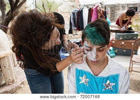 Clown Getting Makeup