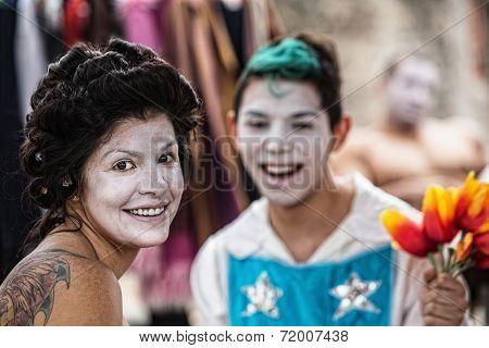 Cheerful Female Clown