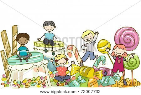 Illustration Featuring Kids Surrounded by All Types of Candies
