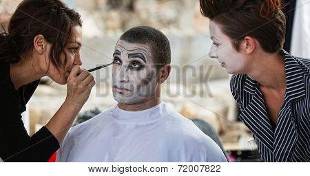 Clown Getting Eye Shadow