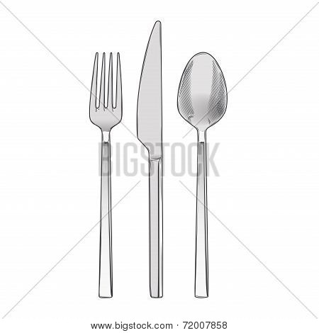Cutlery Set Of Fork, Knife And Spoon Isolated On A White Background. Hand Drawn Color Line Art. Retr