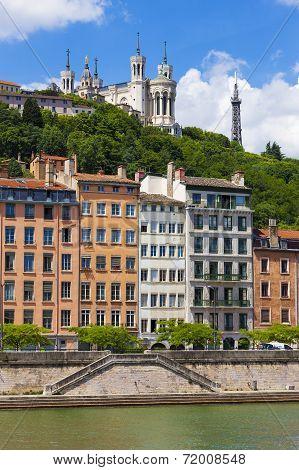 Lyon Cityscape From Saone River