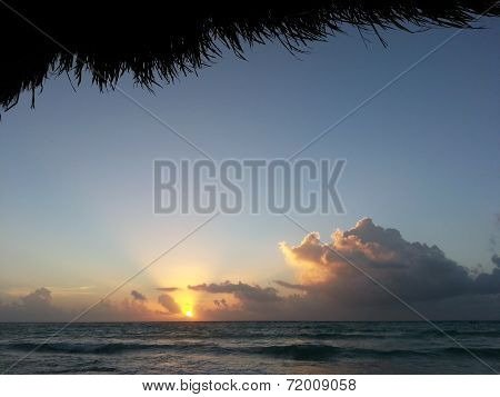 Carribbean sunset in Cancun, Mexico
