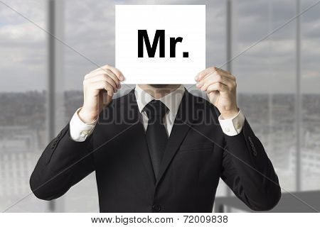 Businessman Hiding Face Sign Mister