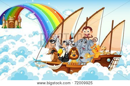 Illustration of many animals on a boat
