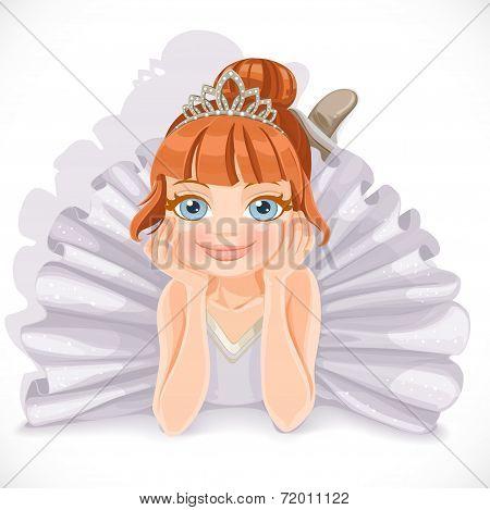 Ballerina girl in white dress lie on floor