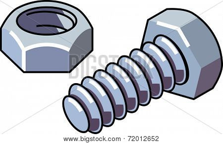 Bolt and nut isolated on white background. Raster illustration.
