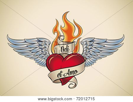 Old-school styled tattoo of a flaming heart with blue wings. The motto Odi et Amo means I hate and I love in Latin. Raster illustration.