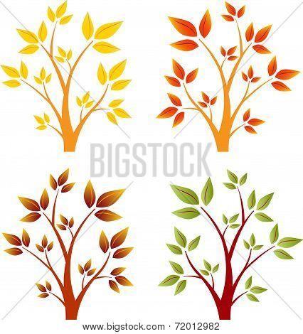 Autumn Trees, Fall Trees, Vector Trees