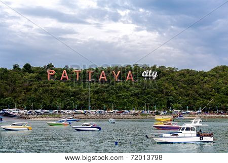 City Of Pattaya Sign With Floating Boat