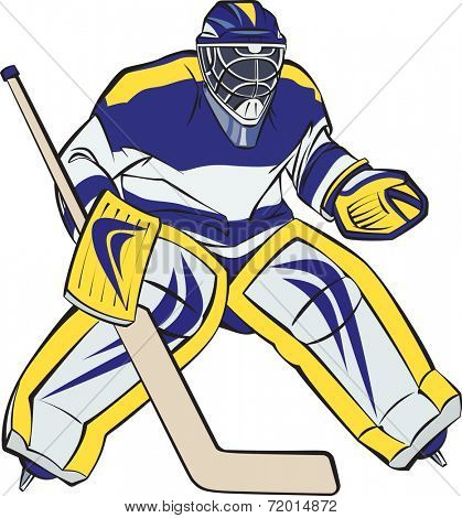 Ice hockey goalkeeper in action. Raster illustration.