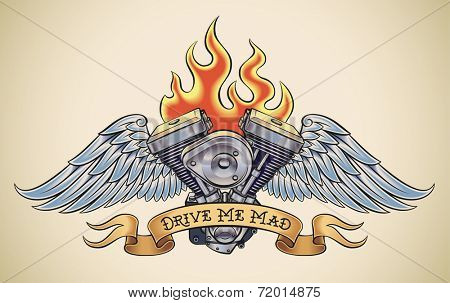 Old-school styled tattoo of a flaming motorcycle engine with steel wings. Raster illustration.