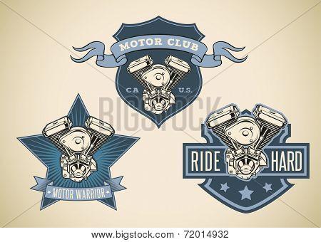 Set of vintage styled labels with image of motorcycle engine. Raster illustration.
