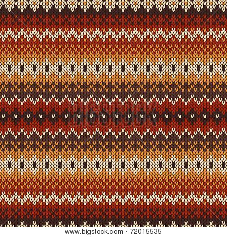 Knitted Seamless Pattern In Fair Isle Style.