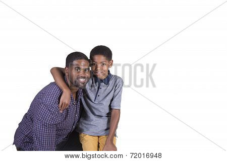Father and son bonding together isolated on a white background