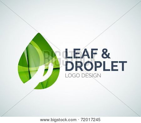Abstract leaf and droplet logo design made of color pieces - various geometric shapes