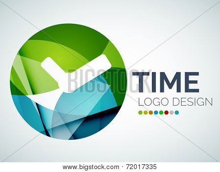 Abstract time, clock logo design made of color pieces - various geometric shapes