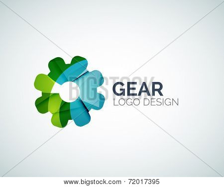 Abstract gear logo design made of color pieces - various geometric shapes