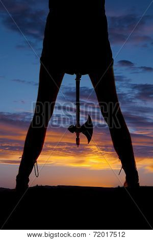 Silhouette Woman Legs Hatchet Between