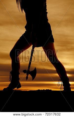Silhouette Woman Legs Side Hatchet
