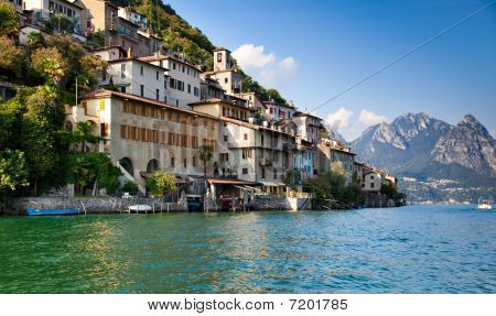 Lugano Lake In Switzerland