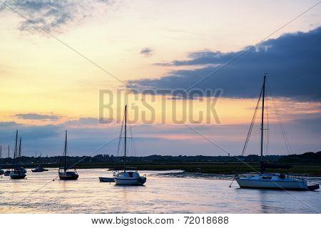 Landscape Of Boats In Harbor During Summer Sunset