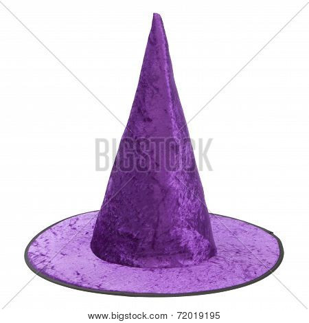 Purple Fabric Witch Hat For Halloween.