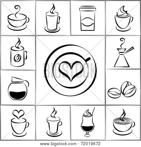 Set of freehand doodle sketch coffee icons