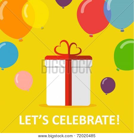 celebration card with a gift an balloons - flat design vector