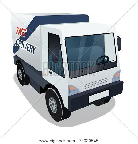 Delivery Cargo Truck Graphic on White Background