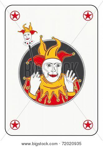 Circled joker playing card in red and orange costume