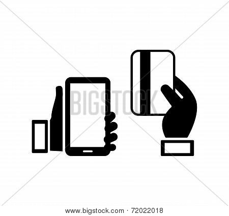 mobile phone and credit card icons