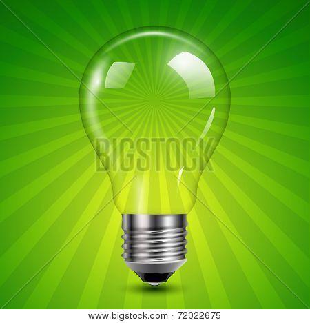 Background with light bulb on green burst, vector illustration.