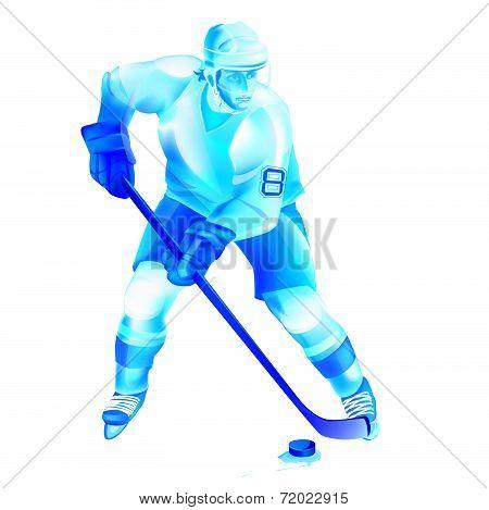 Hockey Player Attack Illustration