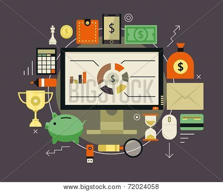 Finance and money items collection.