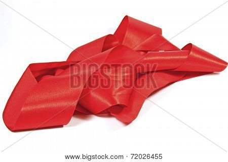 Pile Of Unfolded Shiny Red Silk Ribbon
