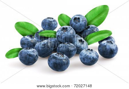 Blueberries with leafs, isolated on white background