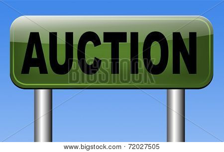 Online auction icon. Selling and buying on the internet of products cars houses and real estate.
