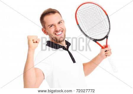 A picture of a handsome tennis player cheering over white background
