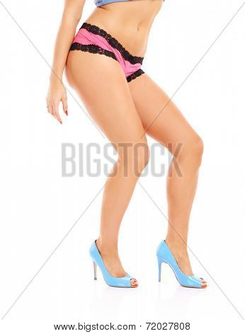 A picture of a sexy woman in a sensual pose over white background