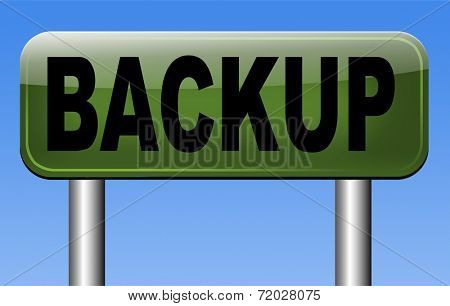 Backup data and software on copy in the cloud on a harddrive disk on a computer or server for files security. Data archiving and file transfer.