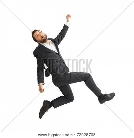 sad businessman falling down over white background